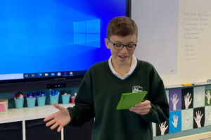 A student takes part in the Botany-Randwick Public Speaking competition